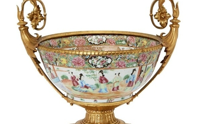 A Chinese Canton porcelain punch bowl with ormolu mounts, 19th...