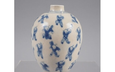 A Chinese blue and white figure decorated oviform vase with ...