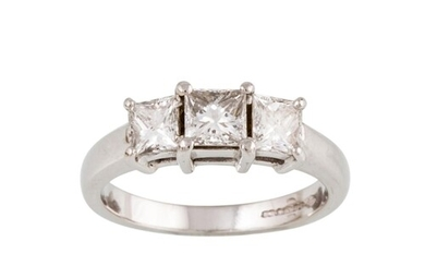 A DIAMOND THREE STONE RING, with princess cut diamonds, moun...