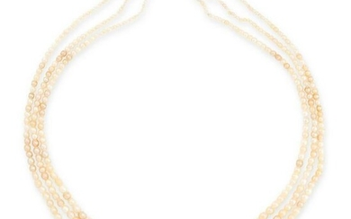 A NATURAL PEARL, EMERALD AND DIAMOND NECKLACE