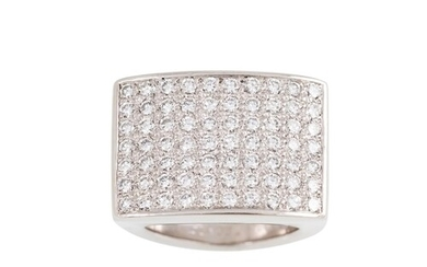 A PIAGET DIAMOND DRESS RING, the seven rows of brilliant cut...