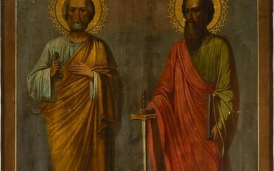 A VERY LARGE ICON SHOWING THE APOSTLES PETER AND PAUL