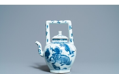 A large Chinese blue and white 'qilin' wine ewer and cover, ...