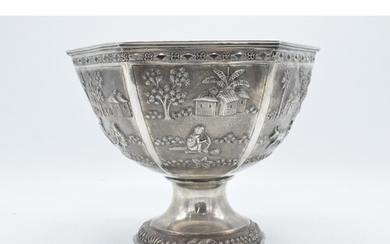 A late 19th / early 20th century Indian silver pedestal bowl...