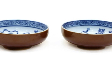 A pair of Chinese cafe-au-lait glazed blue and white cups