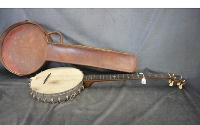 """A silver plated and mahogany """"Grand Concert Banjo by J.E Bre..."""