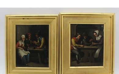 AFTER DAVID TENIERS A pair of 'Tavern Interiors', with figur...
