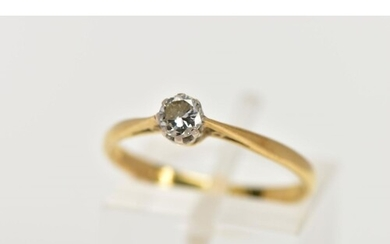 AN 18CT GOLD DIAMOND SINGLE STONE RING, designed with a claw...