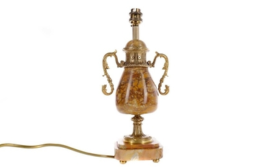AN EARLY 20TH CENTURY GILTMETAL AND SIENA MARBLE TABLE LAMP