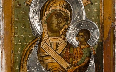 AN ICON SHOWING THE SHUISKAYA MOTHER OF GOD WITH HALO