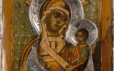 AN ICON SHOWING THE SHUISKAYA MOTHER OF GOD WITH HALO...