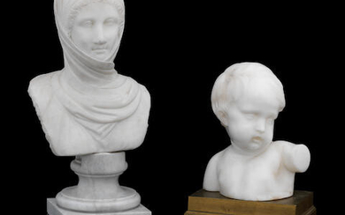 After the antique,, a white marble head of a lady wearing a scarf
