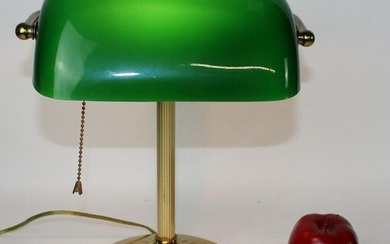 American brass banker's lamp with emerald shade