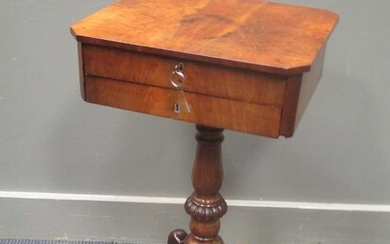 An early Victorian mahogany work table the canted corner top with two drawers and keys (one