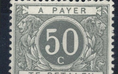 Belgium 1916 50c deep grey re-engraved postage due without h...