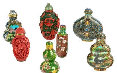 Chinese Cloisonne and Cinnabar Snuff Bottles Group