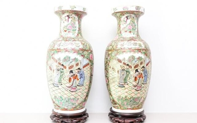 Chinese Hand Painted Famille Rose Vases on Stands