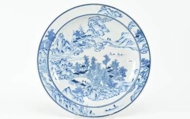 Chinese blue and white serving platter with coastal