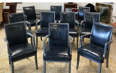 DINING CHAIRS, a set of ten, blue leather with grey painted ...
