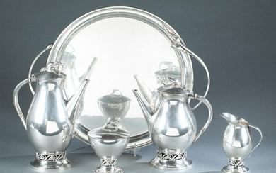"Durham Silver Co. ""Blossom"" sterling tea set."