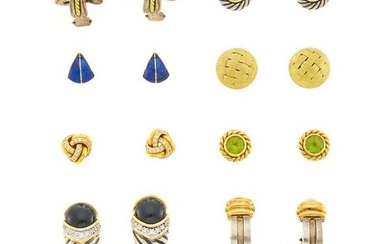 Eight Pairs of Gold, Metal, Gem-Set and Diamond Earrings and Ring