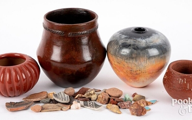 Four pieces of Native American Indian pottery