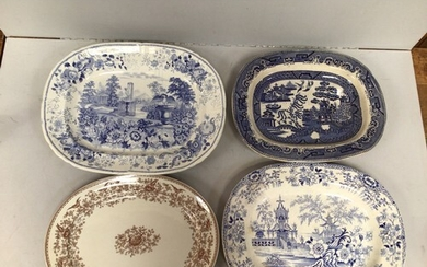 Four pottery meat platters including 'Floral Scenery' by Bar...