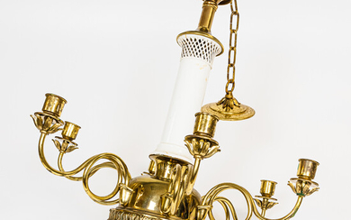 French Gilt-metal and Porcelain-mounted Centerpiece Chandelier