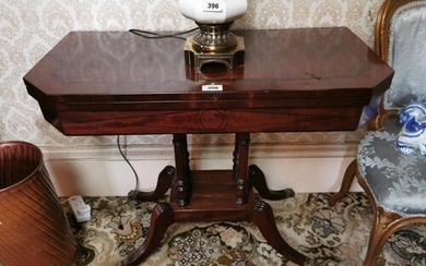 Georgian mahogany turn over leaf card table with rosewood st...
