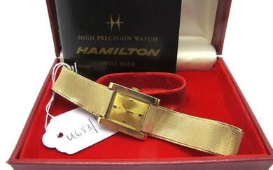 Hamilton; A 9ct Gold Cased Wristwatch, the signed dial with ...