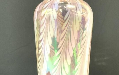 Iridescent Art Glass Pulled Feather Vase