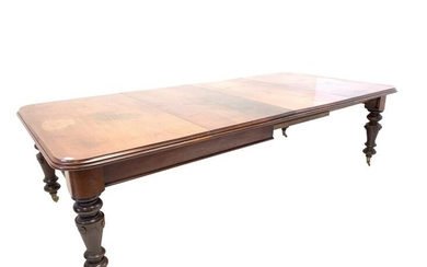 Large Victorian mahogany wind out extending dining table, the...