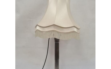 Large silver-plated corinthian column table lamp with ram's ...