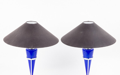 Leola, two table lamps / lamps, glass, paper, chrome, Italy, 1980s (2).