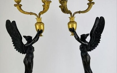 PAIR OF EMPIRE DORE & PATINATED BRONZE CANDELABRA