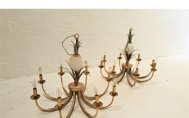 PAIR OF GILT BRASS AND METAL PINEAPPLE STYLE CHANDELIERS the...