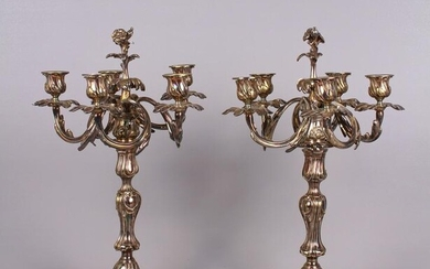 Pair of Christofle Trianon Silver Plate Candelabra