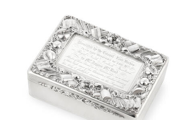 Royal North British Fusiliers Interest: A William IV silver table snuff box