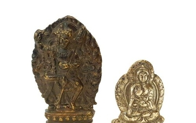 Two Chinese Tibetan Bronze & Silver Figures Qing Period T...