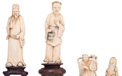 Two Chinese early Republic period ivory figures, H 15,5 - 16 (with fixed base) / weight c. 100 - 125 g., a late Republic Chinese netsuke, H 5 cm - weight c. 30g.; we add a small Japanese late Meiji-period ivory okimono, H 5,2 cm - weight c. 43 g.