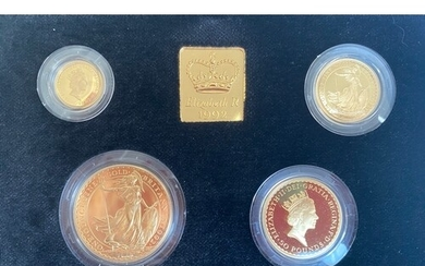 UK 1992 gold Proof Britannia collection including 1 ounce, ½...