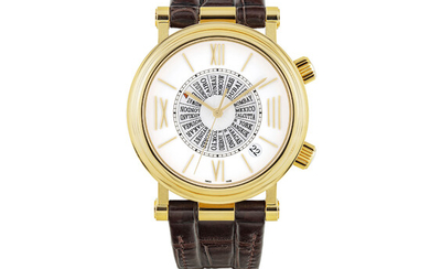VAN CLEEF & ARPELS, GOLD WITH MOTHER OF PEARL, WORLD TIME, ALARM AND DATE