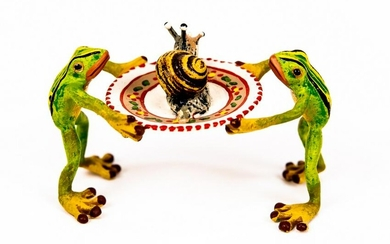 Vienna Cold Painted Bronze Frogs With A Snail