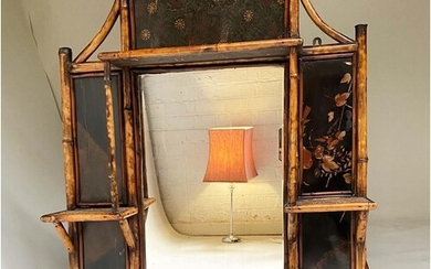 WALL MIRROR, 19th century bamboo framed and Japanese lacquer...