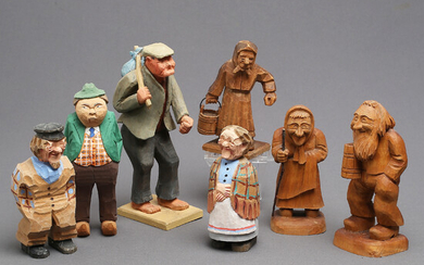 WOOD FIGURES, 7 pcs, carved and painted wood, including G. Hedin, 1900s.