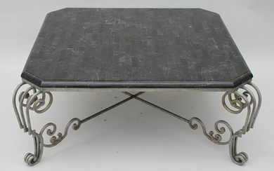 Wrought Iron Cocktail Table with Marble Top