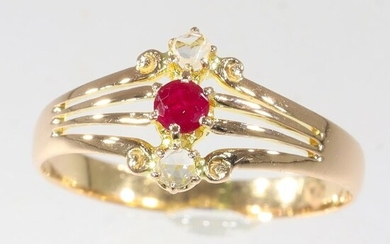 18 kt. Pink gold - Ring Ruby - Diamonds, Antique 1880's - Free resizing* - NO RESERVE PRICE
