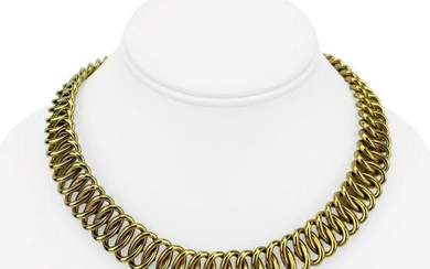 18k Yellow Gold 75g Fancy Spiral Oval Link Chain