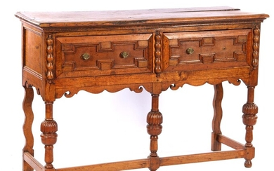 (-), 19th century 2-drawer oak wall unit with...