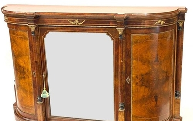 A 19th Century crossbanded line inlaid bow front walnut cred...
